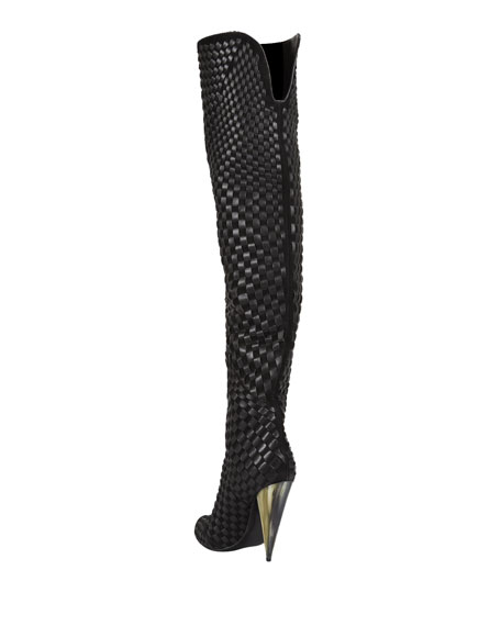 Woven Suede/Leather Over-the-Knee Boot, Black