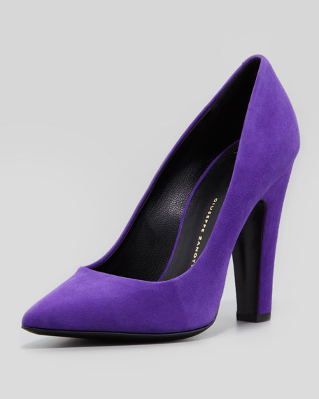 Suede Pointed-Toe Thick-Heel Pump, Purple