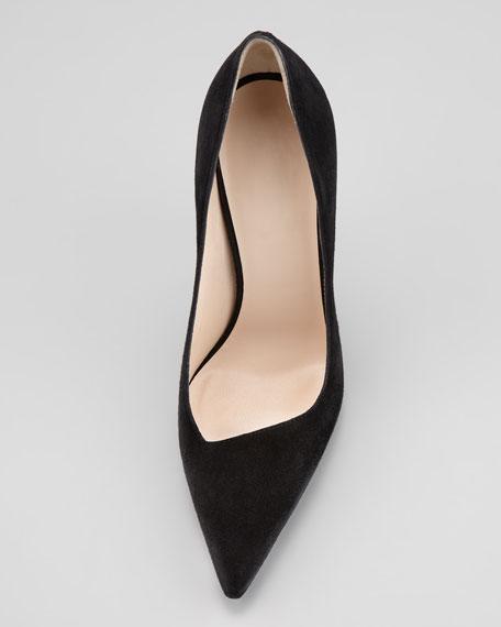 Asymmetric Pointed-Toe Pump, Black