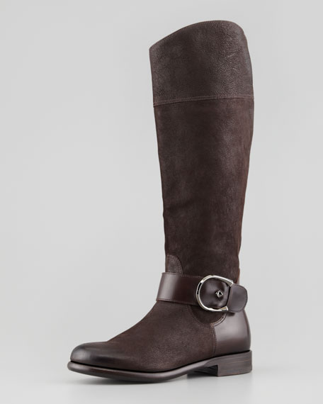 Flat Knee Boot With Buckle, Moro
