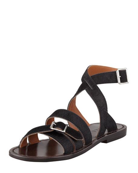 Flat Calf Hair Sandal, Black