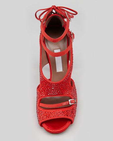 Bailey Buckle Laced-Back Crystal Sandal