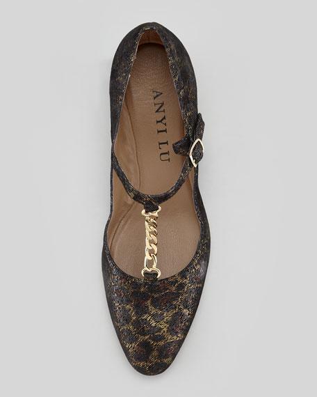 Kristen T-Strap Leopard Wedge, Brown Multi