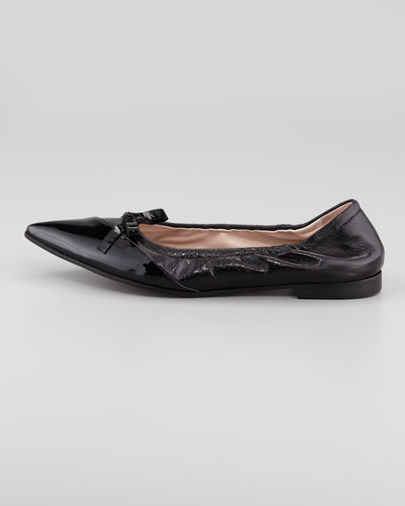 Pointed Bow Ballerina Flat, Black