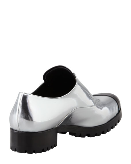 Metallic Laceless Cap-Toe Oxford