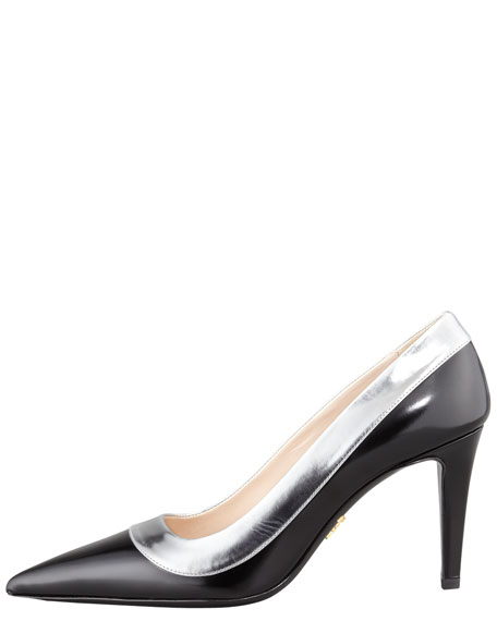 Bicolor Pointed Toe Pump, Black/Silver