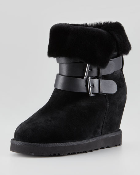 Yes Shearling-Cuff Wedge Boot, Black