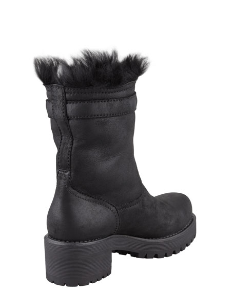 Shearling-Lined Motorcycle Boot
