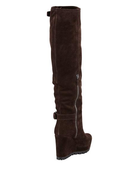 Double-Buckle Suede Wedge Knee Boot