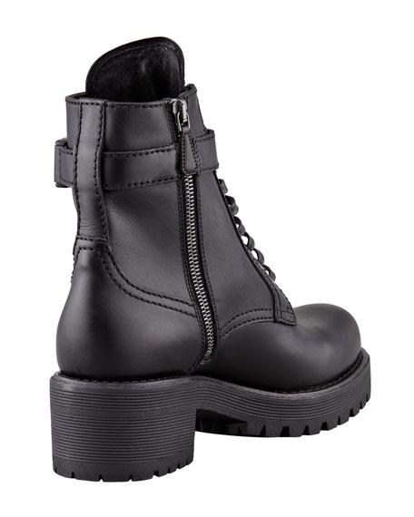 Soft Calf Lace-Up Combat Boot, Black