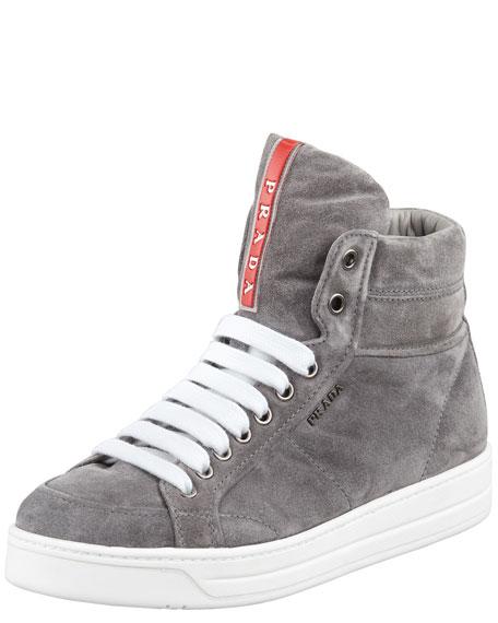 Suede Side-Zip High-Top Sneaker