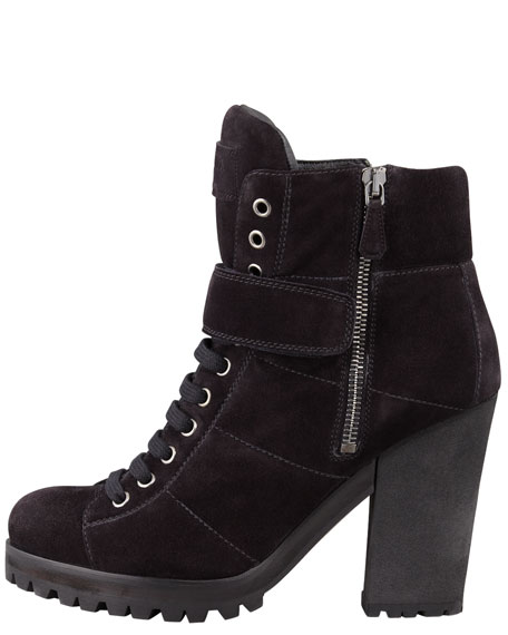 Lace-Up Ankle Boot, Nero