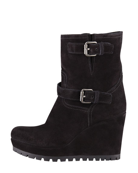 Double Buckle Suede Wedge Boot, Black