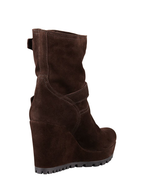 Double Buckle Suede Wedge Boot, Brown