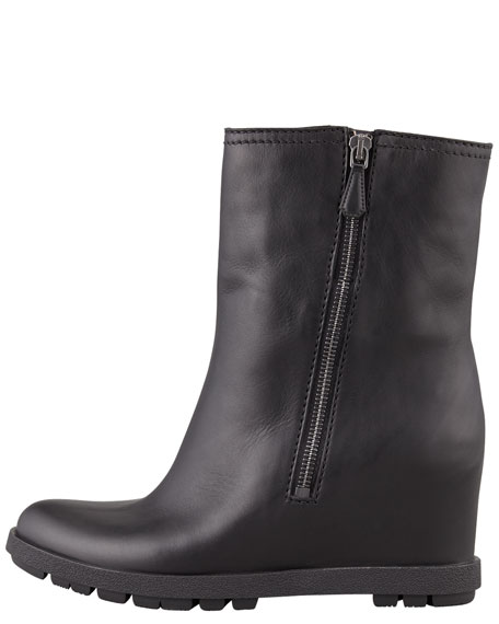 Leather Double-Zipper Wedge Ankle Boot, Black