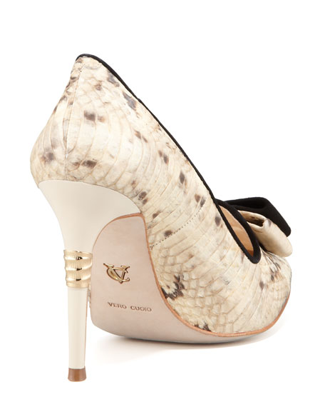 Rekha Snakeskin Pump with Bow Detail, Ivory/Black