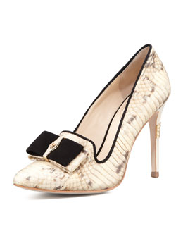 VC Signature Rekha Snakeskin Pump with Bow Detail, Ivory/Black
