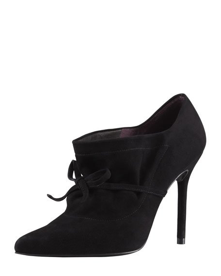 Aokhi Pointy Suede Bootie, Black