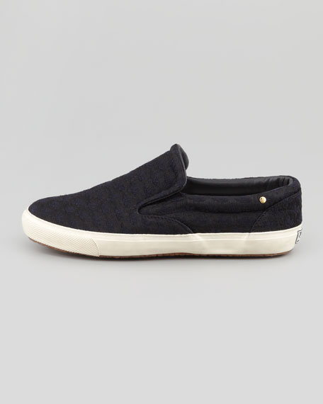 Brocade Slip-On Sneaker, Black/Navy