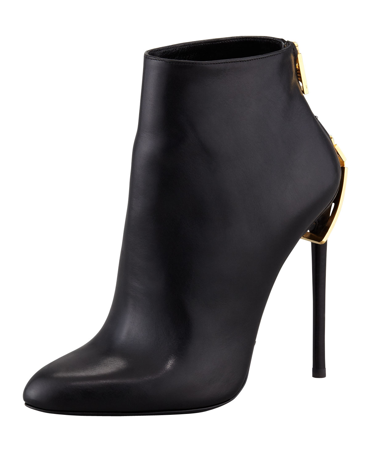 c1f5e050ce Tom Ford Zipper-Heel Leather Ankle Boot | Neiman Marcus