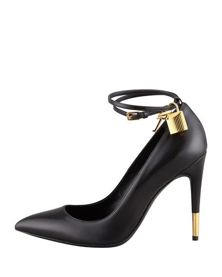 TOM FORD Padlock Ankle-Wrap Leather Pump