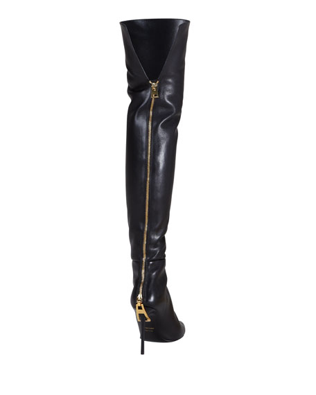 Zipper-Heel Over-the-Knee Leather Boot