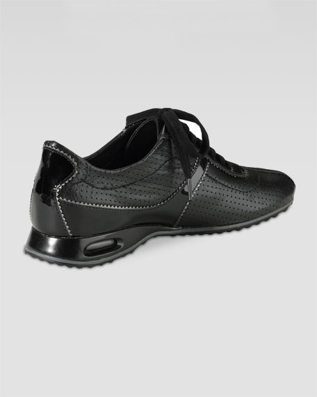 Air Bria Perforated Leather Oxford, Black