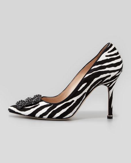 Hangisi Zebra-Print Calf Hair Pump