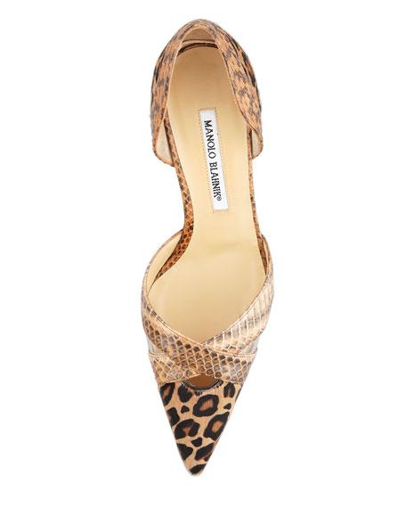 Crux Gala Leopard-Print & Snakeskin d'Orsay Pump