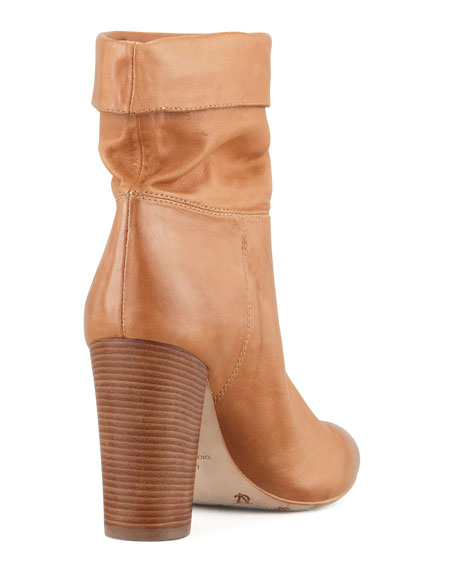 Taresa Slouchy Leather Bootie, Camel