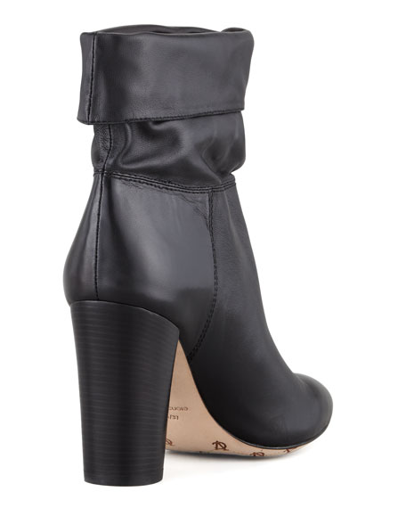 Taresa Slouchy Leather Bootie, Black
