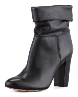 VC Signature Taresa Slouchy Leather Bootie, Black