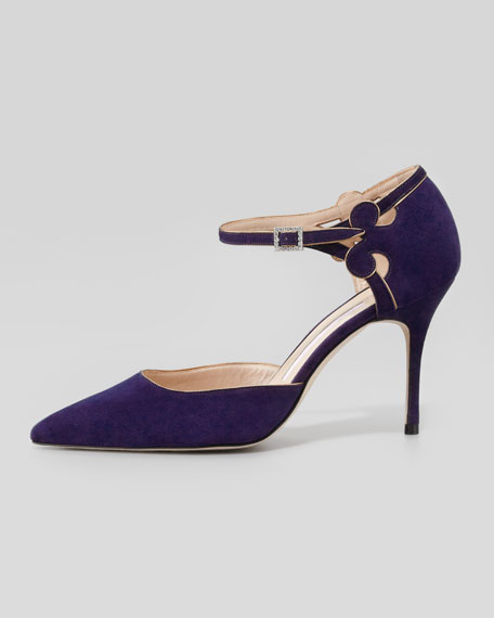 Valnight Suede Ankle-Strap Pump