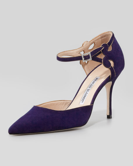 Valnight Suede Ankle-Strap Pump