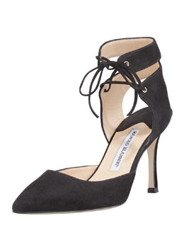 Manolo Blahnik Lara Suede Laced-Ankle Pump