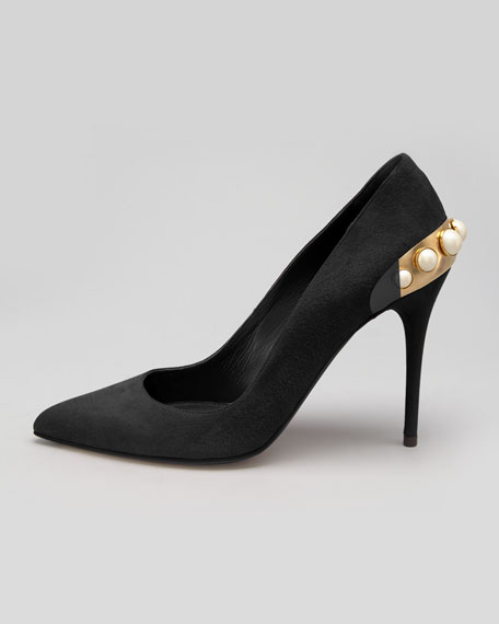 Pearlescent-Heeled Suede Pump, Black