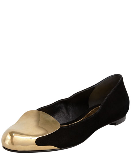 Alexander McQueen Metal-Capped Suede Smoking Slipper, Black