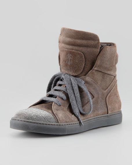 Suede Beaded-Toe High-Top Sneaker