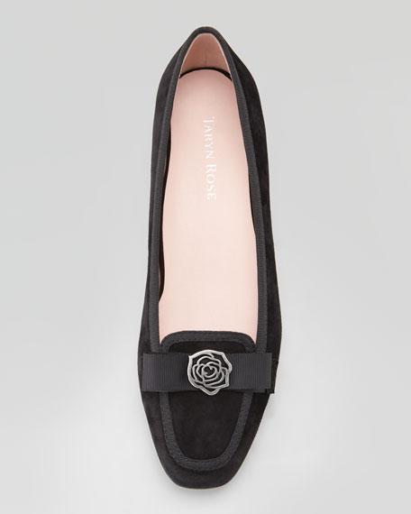 Gari Rose Detailed Suede Loafer, Black