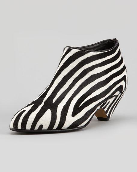 Zebra-Print Calf-Hair Bootie