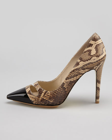 Snake-Print Cap-Toe Pump, Black/Honey