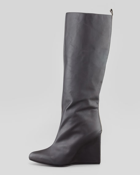 Pointy-Toe Wedge Knee Boot