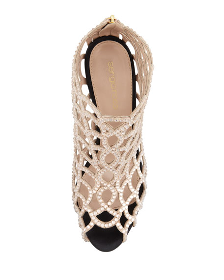 NUDE CAGED BOOTIE