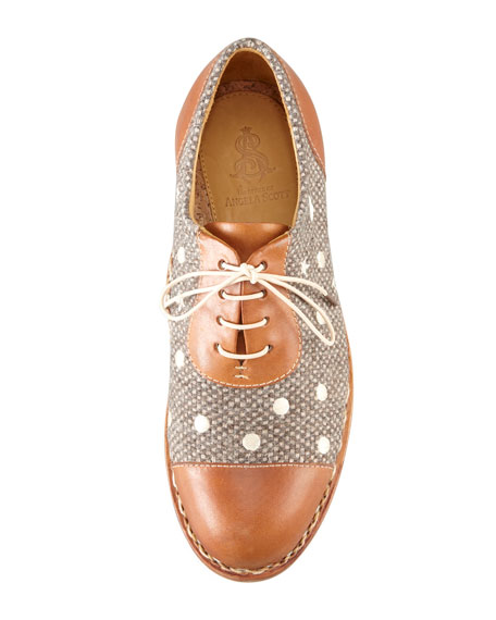 Mr. Dottie Embroidered Oxford, Nutmeg