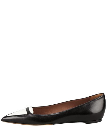 Alexa Bicolor Point-Toe Ballerina Flat