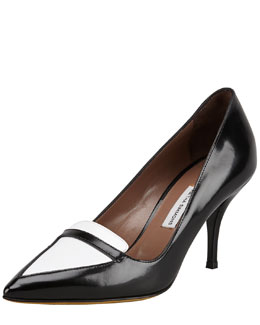 Tabitha Simmons Hayden Bicolor Point-Toe Loafer Pump