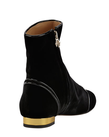 Puss in Boots Embroidered Velvet Ankle Boot