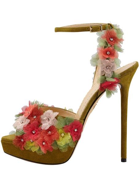 Bryony Flower Ankle-Wrap Platform Sandal
