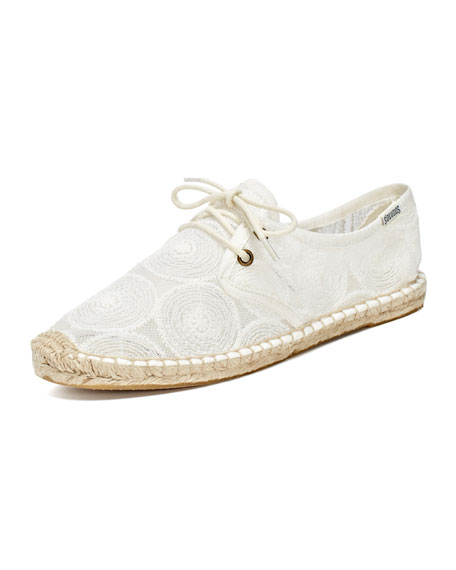 Lace-Up Lace Espadrille Sneaker, White