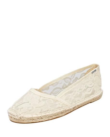 Lace Espadrille Ballerina Flat, White
